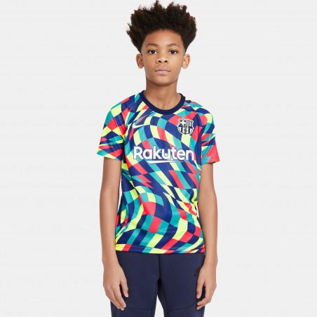 Maillot avant match junior FC Barcelone bleu rouge 2020/21