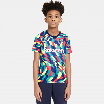 Maillot avant match junior FC Barcelone bleu rouge 2020/21