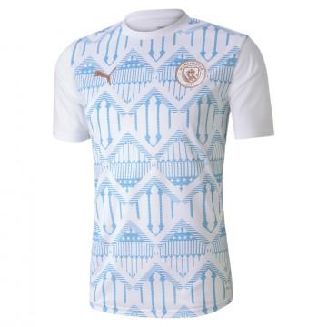 Maillot avant match Manchester City blanc bleu 2020/21