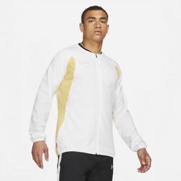 Veste survêtement Nike Academy microfibre blanc or
