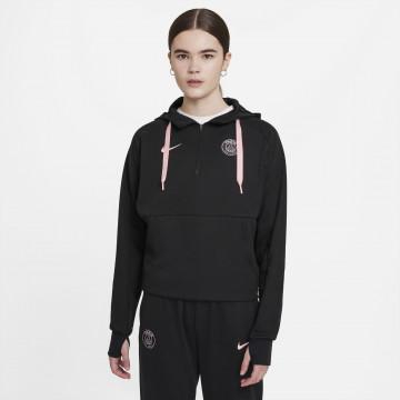 Sweat zippé à capuche PSG noir rose 2021/22