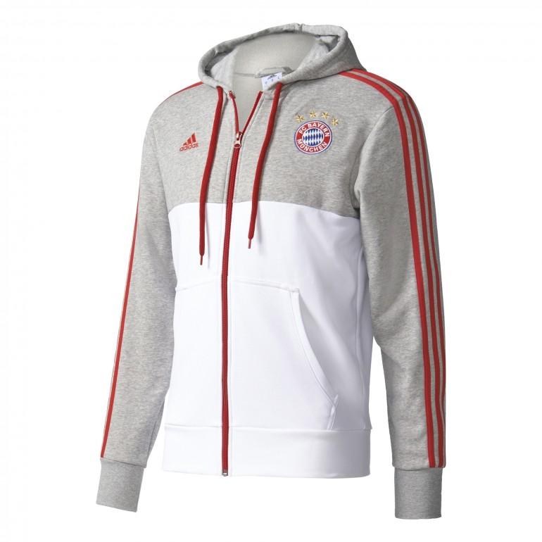 Veste Survêtement à Capuche Bayern Munich gris blanc rouge