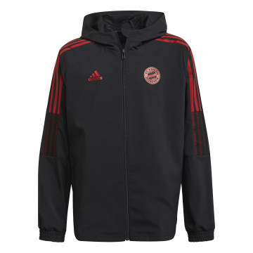 Veste entraînement junior Bayern Munich noir rouge 2021/22