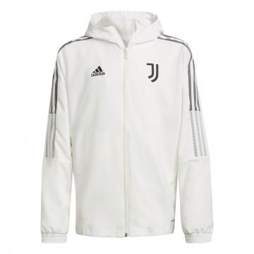 Veste survêtement à capuche junior Juventus blanc gris 2021/22