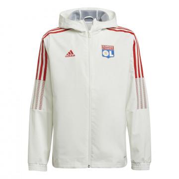 Veste entraînement à capuche junior Olympique Lyonnais blanc 2021/22