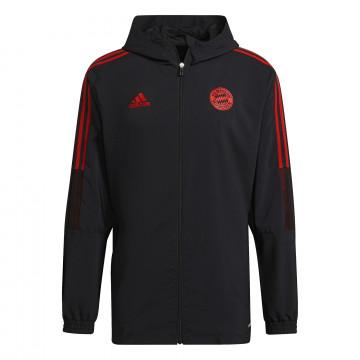 Veste survêtement à capuche Bayern Munich noir rouge 2021/22