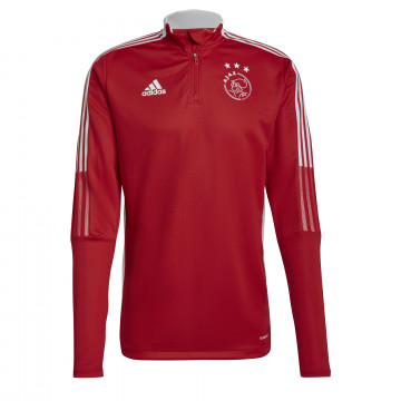 Sweat zippé Ajax Amsterdam rouge blanc 2021/22