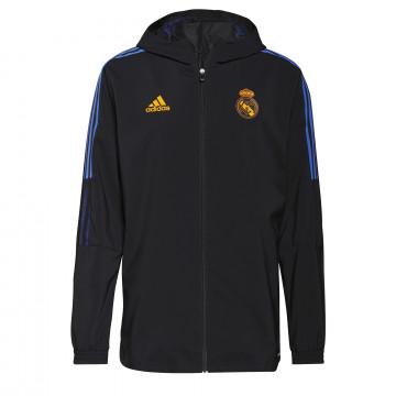Veste survêtement à capuche Real Madrid noir orange 2021/22