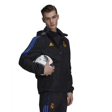 Veste imperméable Real Madrid noir orange 2021/22