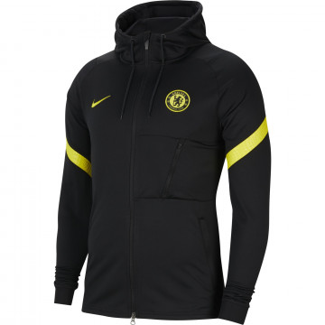 Veste survêtement à capuche Chelsea noir jaune 2021/22