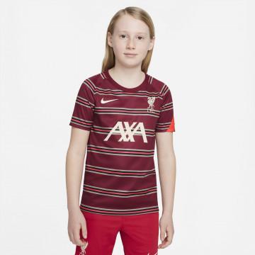 Maillot avant match junior Liverpool rouge 2021/22