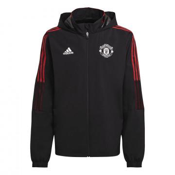 Veste imperméable Manchester United noir rouge 2021/22