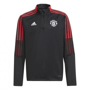 Sweat zippé junior Manchester United noir rouge 2021/22