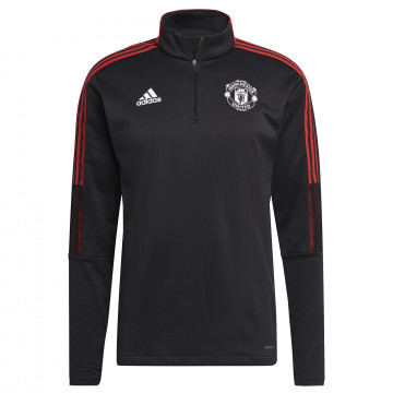 Sweat col montant Manchester United noir rouge 2021/22