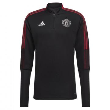 Sweat zippé Manchester United noir rouge 2021/22
