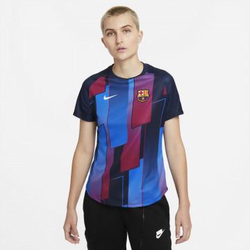 Maillot avant match Femme FC Barcelone rouge bleu 2021/22