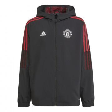 Veste survêtement à capuche junior Manchester United noir rouge 2021/22