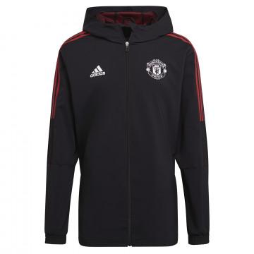 Veste survêtement à capuche Manchester United noir rouge 2021/22