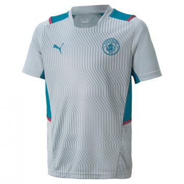 Maillot entraînement junior Manchester City gris bleu 2021/22
