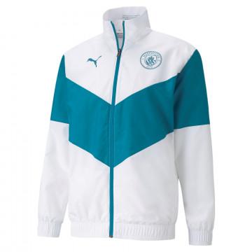 Veste avant match Manchester City blanc bleu 2021/22