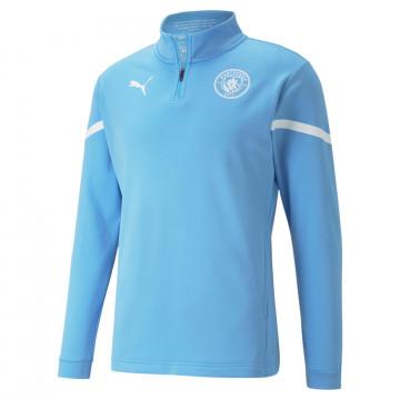 Sweat zippé avant match Manchester City bleu blanc 2021/22