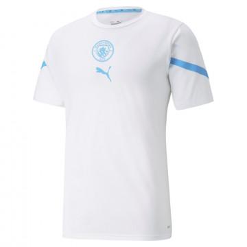 Maillot avant match Manchester City blanc bleu 2021/22