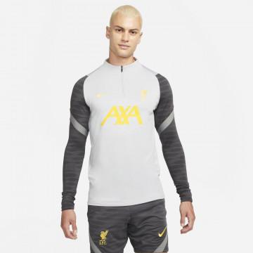 Sweat zippé Liverpool Strike gris jaune 2021/22