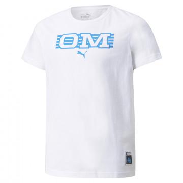 T-shirt junior OM blanc bleu 2021/22