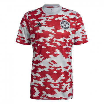 Maillot avant match Manchester United rouge gris 2021/22