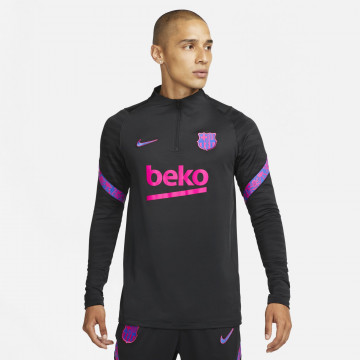Sweat zippé FC Barcelone noir rose 2021/22
