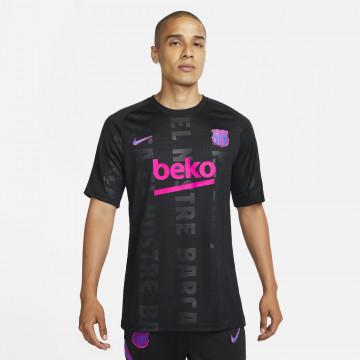 Maillot avant match FC Barcelone noir rose 2021/22