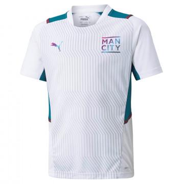 Maillot entraînement junior Manchester City blanc bleu 2021/22