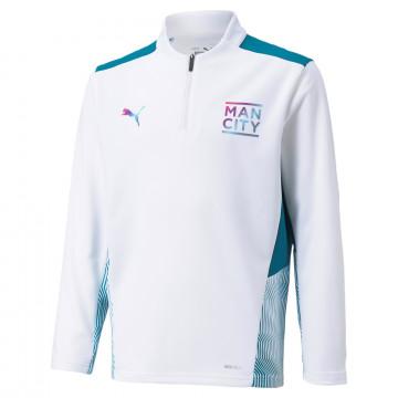 Sweat zippé junior Manchester City blanc bleu 2021/22
